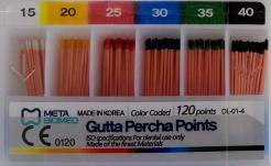 Guttaperčové čepy 015-040 ISO mix, 120 ks